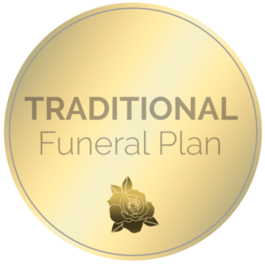 A circular logo in gold that says Traditional Funeral Plan on it