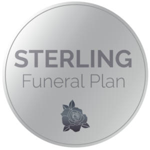 A circular logo in silver that says Sterling Funeral Plan